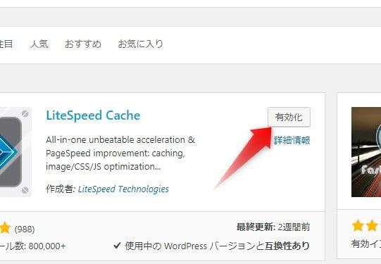 LiteSpeed Cache 有効化